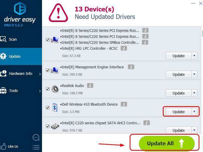 Update bluetooth trong Driver Easy