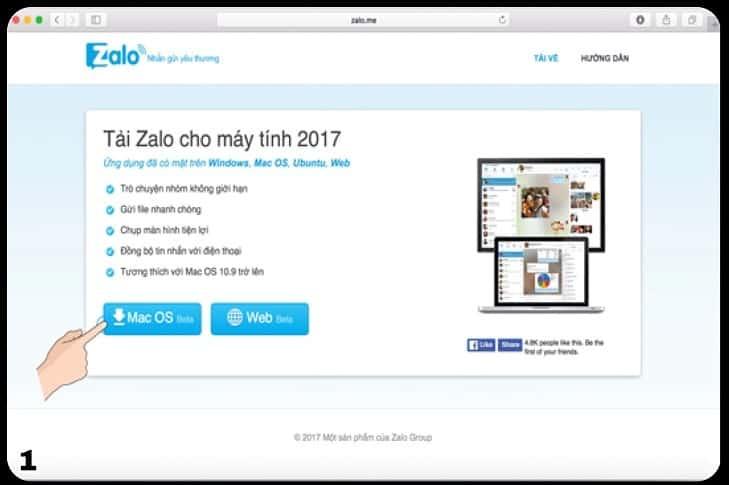 Bước 1 truy cập và tải Zalo về Macbook