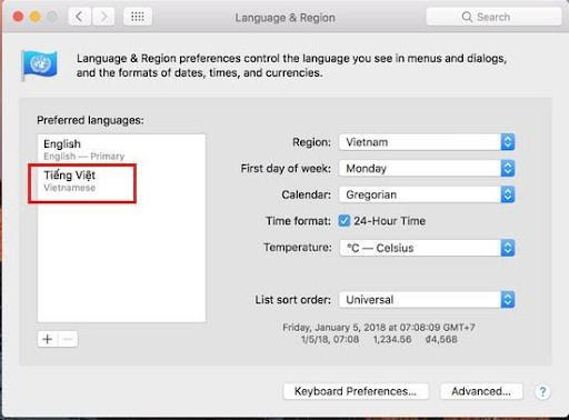 Cài đặt tiếng việt cho macbook cách 1 bước 3