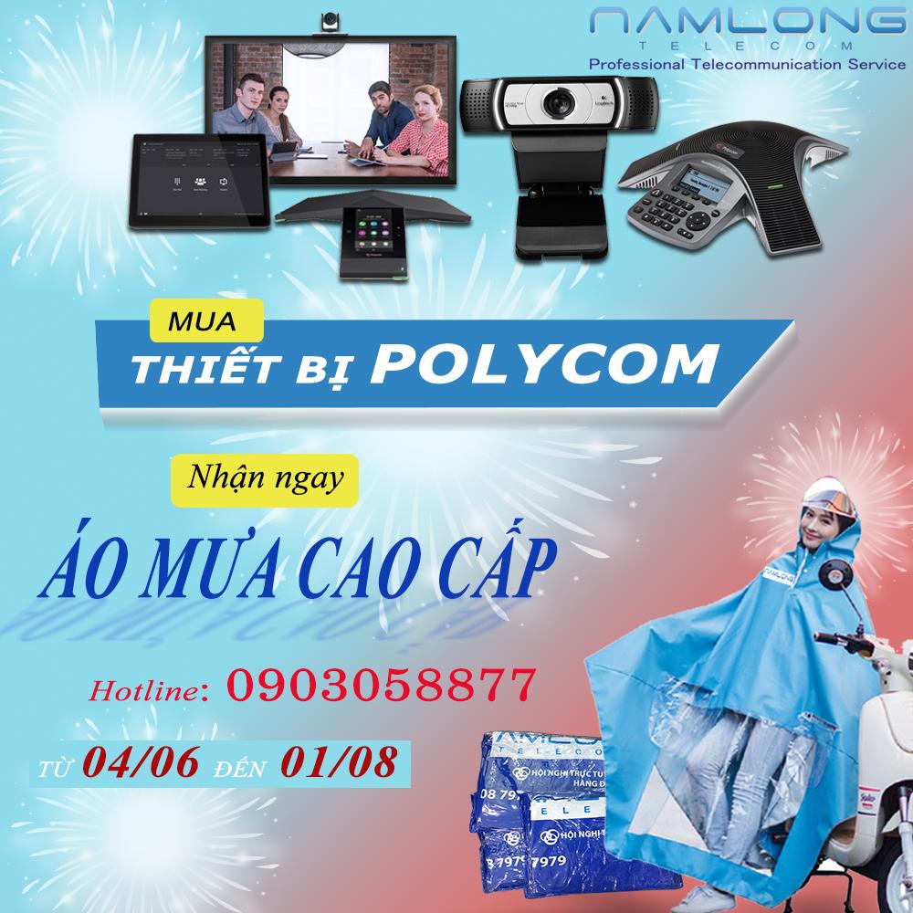 Tặng áo mưa cao cấp khi mua bất kì sản phẩm Polycom tại Nam Long Telecom
