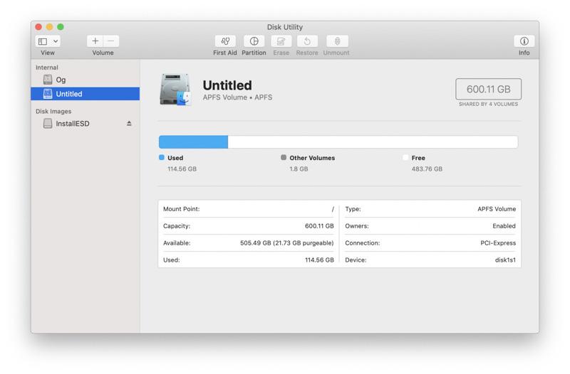 Kiểm tra dung lượng Macbook bằng Disk Utility
