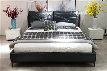 Giường ngủ bọc da bò thật N829
