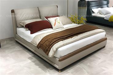 Giường ngủ bọc da đẹp màu trắng N158