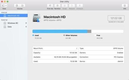 hard drive not showing up mac