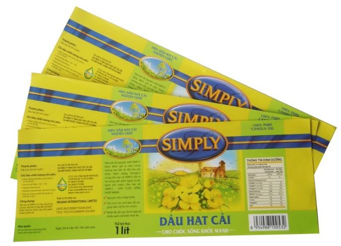 Sản phẩm in nhãn giấy dầu đậu nành Simply từ In Số 7
